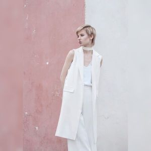 {zara} belted off-white drape blazer vest